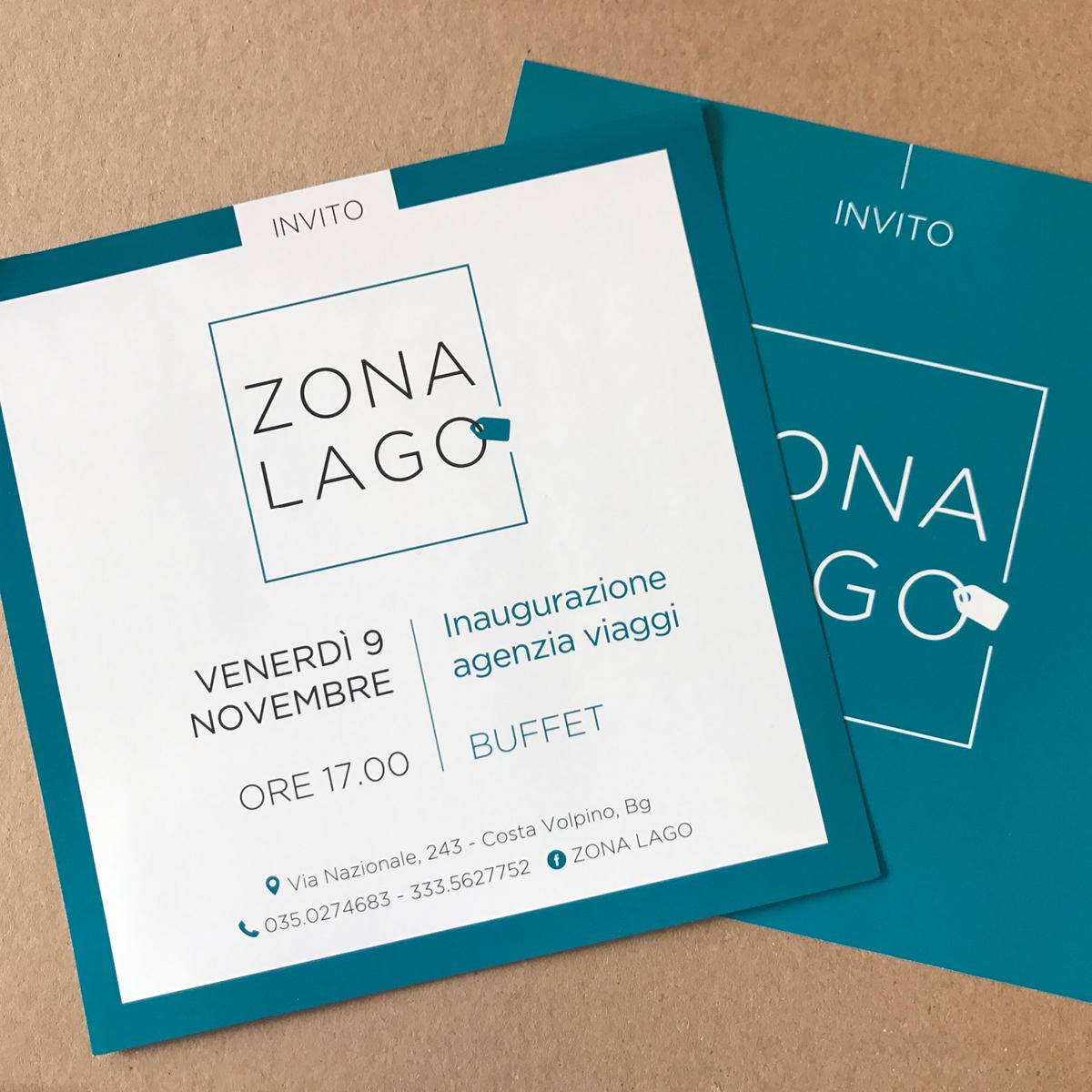 Progettazione grafica e stampa invito e adesivi - Zona Lago (Costa Volpino)