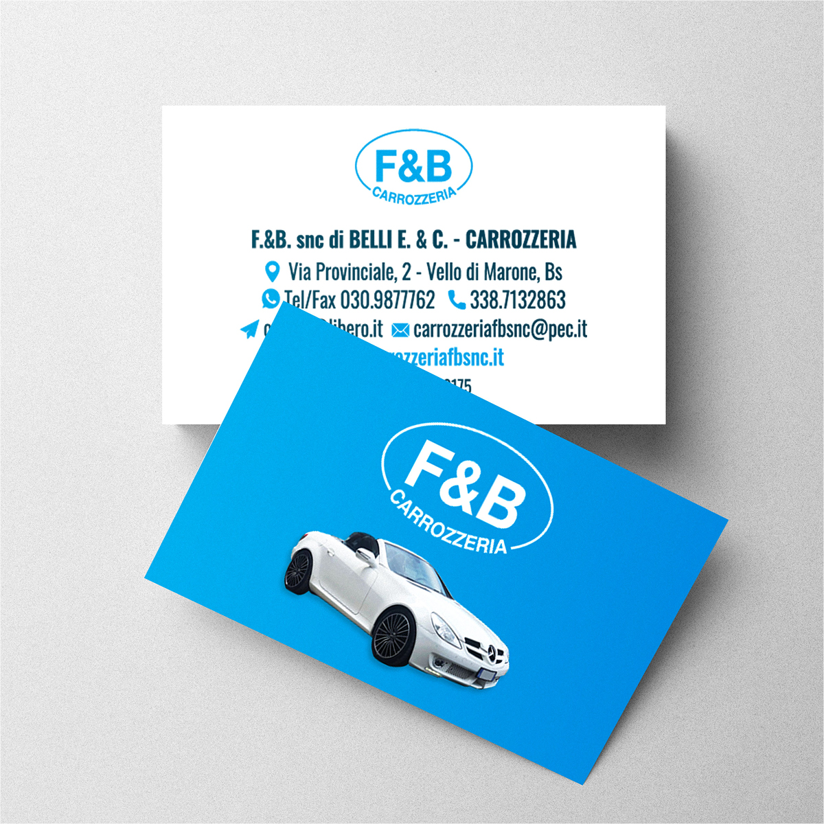 Grafica e stampa biglietti da visita personalizzati - Carrozzeria F&B Marone (Brescia)